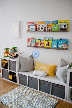 IKEA storage is king in this play room. The book rail displays colorful and belo. - Baby Bed , IKEA storage is king in this play room. The book rail displays colorful and belo. IKEA storage is king in this play room. The book rail displays col. Diy Toy Storage, Playroom Storage, Playroom Design, Ikea Storage, Kids Room Design, Cube Storage, Storage Design, Book Storage, Storage Benches