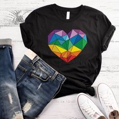 Pride Unisex Shirt Poly Pride Polyamory Shirt LGBT Shirt Gay Pride Lesbian Pride Shirt Pride Month Shirt Love is Love Shirt Rainbow Heart Pride Outfit, Rainbow Outfit, Rainbow Clothes, Lgbt Shirts, T Shirt Painting, Lesbian Pride, Love Shirt, Shirt Designs, Creations
