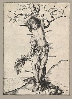 Saint Sebastian  Martin Schongauer  (German, Colmar ca. 1435/50–1491 Breisach)  Date: 15th century Medium: Engraving Dimensions: Sheet: 6 1/4 x 4 7/16 in. (15.8 x 11.3 cm) Classification: Prints Credit Line: Harris Brisbane Dick Fund, 1951 Accession Number: 51.516.2