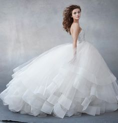 dramatic ballgown Lazaro wedding dresses