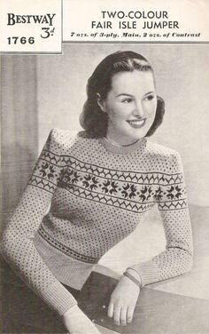 Two Colour Fair Isle Jumper Vintage Knitting Pattern 457 Jumper Patterns, Vintage Dress Patterns, Sweater Knitting Patterns, Knitting Designs, Knitting Projects, Fair Isle Knitting, Hand Knitting, Knitting Needles, Vintage Knitting