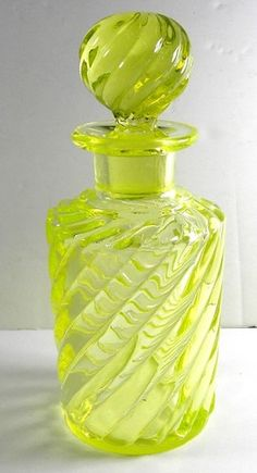 Antique Baccarat Perfume Bottle in Canary Yellow Vaseline Glass   eBay