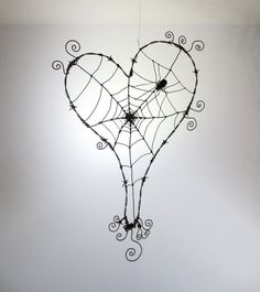 Wonky Barbed Wire Heart With Spider Web And by thedustyraven