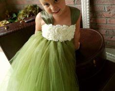 Boda de país Vintage Vestido de la muchacha de flor por OLODesigns