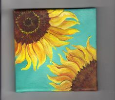 Original Sunflowers on Turquoise Painting on by SharonFosterArt, $40.00