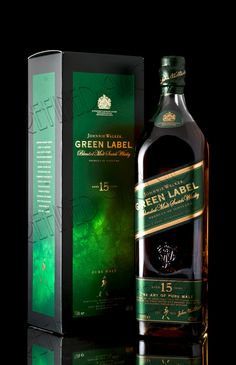 Johnnie Walker Green Label is a blend of whiskies from 27 different distilleries and is deliciously nuanced and complex. Good Whiskey, Cigars And Whiskey, Scotch Whiskey, Whiskey Girl, Irish Whiskey, Johnnie Walker Green Label, Johnnie Walker Whisky, Alcohol Bottles, Liquor Bottles