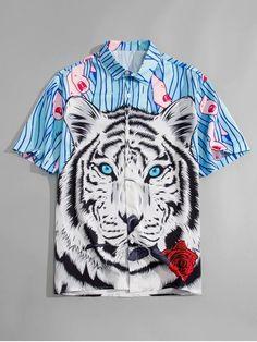 Fashion Tiger Print Brand New Slim Fit Short Sleeve Shirt - ecofashionova Mens Shirts Online, Men Shirts, Shirt Men, Leopard Print Shorts, Geometric Sleeve, Plus Size Shirts, Latest Mens Fashion, Tiger Print, Summer Shirts