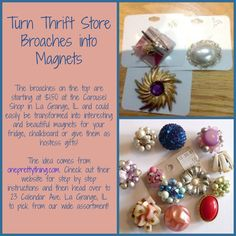 The Carousel Shop in La Grange has a wide assortment of broaches you could wear or transform into great magnets!