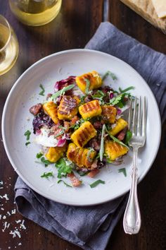 Gluten-Free Pumpkin Ricotta Gnocchi with Pancetta & Seared Radicchio | The Bojon Gourmet