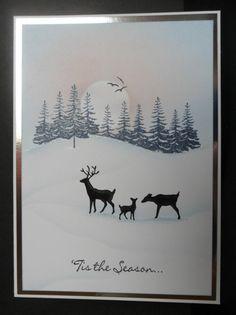 Winter Deer | docrafts.com Cas Christmas Cards, Stamped Christmas Cards, Beautiful Christmas Cards, Christmas Card Crafts, Stampin Up Christmas, Holiday Cards, Cardio Cards, Making Greeting Cards, Card Io