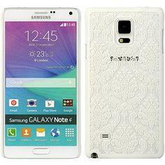 [ Samsung Galaxy Note 4 ] ToPerk (TM) Crystal Rubber Hybrid Design Case & Stylus Pen As Bundle Sale - Lace White
