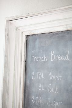 Large chalkboard frame from salvaged wood trim