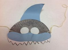 Sample of one of my own shark masks Shark Week Crafts, Shark Craft, Shark Mask, Fish Mask, Easter Crafts For Kids, Toddler Crafts, Preschool Crafts, Underwater Crafts, Under The Sea Theme