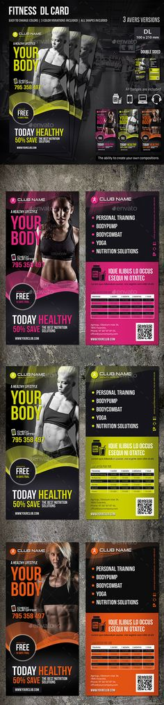 Fitness DL Card by MrTemplater Fitness Flyer. Modern and elegant design for DL Card. Perfect for gyms and sport clubs promotion. All elements are editable. 3 te