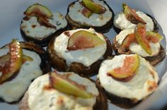 Mushrooms stuffed with ricotta, goat cheese and chives, topped with caramelized figs