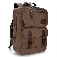 Men Women Multifunction Retro Canvas Backpack Large Capacity Durable Bag - US$30.29