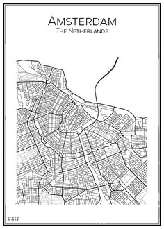 City map of Amsterdam Hand drawn city maps and postersAmsterdam. Map Design, Print Design, Design Ios, Amsterdam Map, Netherlands Map, City Map Poster, City Maps, Design Thinking, Map Art