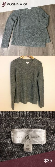 Lou & Grey wool blend gray sweater M Good used condition Lou & Grey Sweaters