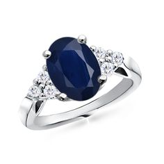 Oval Sapphire and Round Diamond Cocktail Ring - Sapphire Rings - Rings | Angara.com