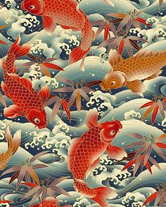 Fabric with koi pattern Japanese Textiles, Japanese Patterns, Japanese Fabric, Japanese Prints, Japanese Design, Japanese Koi, Japanese Dragon, Japanese Embroidery, Japanese Style