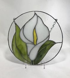 Stained Glass White Calla Lily Flower 8 Round Sun
