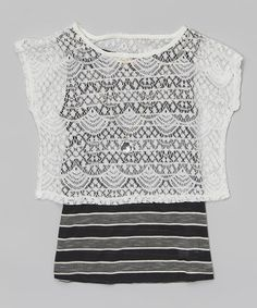 Another great find on #zulily! Black & White Stripe Lace Popover Top & Necklace by Speechless #zulilyfinds