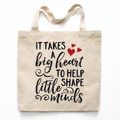 It Takes A Big Heart Teacher Canvas Tote Bag #daycaresupplies