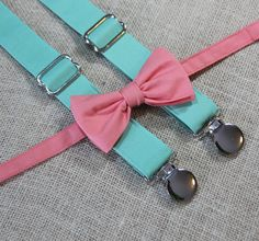 Solid Coral Bow Tie and Solid Dark Mint Green Suspender set ( Men, boys, baby, toddler, infant Suspender and Bowtie )