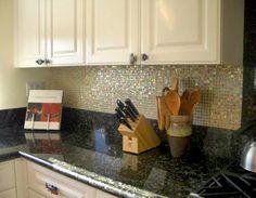 black countertops with backsplash | ... shimmerfly glass tile, found in kitchen backsplash under cabinets