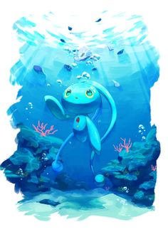Manaphy - Pokémon Pokemon Team, Pokemon Fan Art, Pokemon Comics, Pokemon Memes, Water Type Pokemon, Mythical Pokemon, Pokemon Universe, Pokemon Collection, Pokemon Eeveelutions