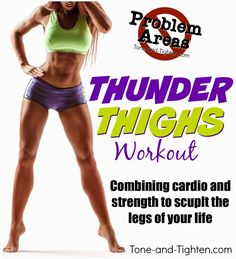 The best workout to eliminate Thunder Thighs! Combining strength and cardio moves to tone and tighten your legs. From Tone-and-Tighten.com Weight Loss Meals, Best At Home Workout, Best Cardio, Trx, Fun Workouts, At Home Workouts, Fitness Workouts, Fitness Plan, Workout Tips