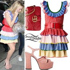 """Dakota Fanning was spotted arriving for an appearance on """"Live with Kelly."""" wearing an Alexander McQueen Resort 2017 Dress (Not available online), a Gucci GG Marmont Matelassé Shoulder Bag ($2,300.00) and Saint Laurent Candy Suede Platform Sandals ($690.00). You can find pink suede platforms for less at PrettyLittleThings ($35.00)."""