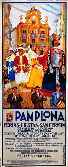 Cartel de los Sanfermines de 1929 - Fiestas y ferias de San Fermín, Pamplona :: Autor: Jesús Basiano Martínez #Pamplona