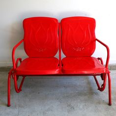 Valentines Day Red Metal Glider Industrial Home by RhapsodyAttic, $295.00