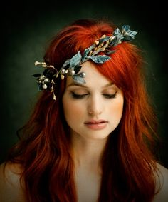 striking hair colour & wreath