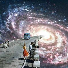Mixed Media Collage Art --> space, galaxy, espaço, galáxia