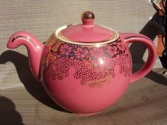 Hall Globe Teapot Pink        with Gold Trim.