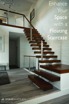 We can't think of a better setting for our very first 90 degree floating staircase. When it comes to modern design, nothing makes quite as chic a statement as a floating staircase. Home Stairs Design, Railing Design, Interior Stairs, Stair Railing, Home Design, Stair Design, Railings, Diy Stair, Cable Railing