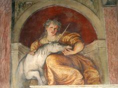 Lady with unicorn  Trento, Castel del Buonconsiglio; Girolamo Romanino (* um 1485 in Brescia; † 1566 in Brescia)