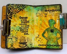 art journal with Xyron adhesives, tim holtz stencils, ranger archival inks, and more