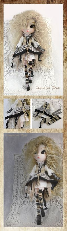 A hand made three piece steampunk outfit for Pullip. Romantic and shabby in smooth beige tones and refreshing black and white.
