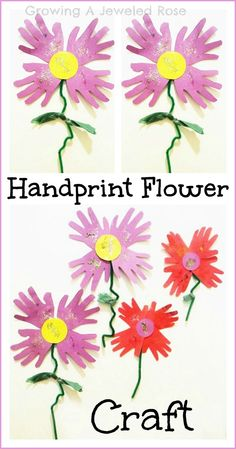 Growing A Jeweled Rose: Hand Print Flowers for Spring #handpringcraft #spring #kidscraft