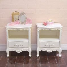 Elegant 1 Drawer Pair of Open Nightstands in White $595.00 #thebellacottage #shabbychic #OOAK