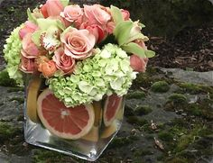 with pink grapefruit- great colors ~perfect for a afternoon outdoor bridal shower