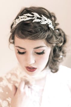 Enchanted Atelier {Lady Mary} wreath inspired by the Downton Abbey vintage crown.  {Image Details: Photo by Emme Wynn Photography, MUA Liz Wegrzyn, Model Leanne Hyer, Gown Vintage}