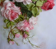 ribbon embroidery  #ribbon work #@Af's 24/4/13