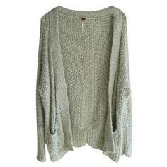 Free People Medium Sweater Pockets Green Mint Cardigan