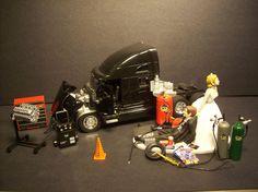 Oh my goodness... AUTO MECHANIC K kenworth t-2000 black tractor trailer truck wedding cake topper funny. $139.00, via Etsy.