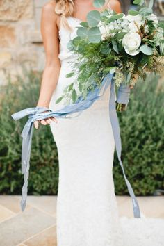 "Blue Wedding Flowers bouquet with ribbon of words from each family member/groom/maids - This Bride Was Surprised With the Sweetest ""Something Blue"" Idea Bride Bouquets, Bridesmaid Bouquet, Wedding Bridesmaids, Silk Wedding Bouquets, Ribbon Bouquet, Blue Bouquet, Boquet, Wedding Trends, Trendy Wedding"