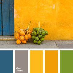 bright orange, color of concrete, color of greenery, color of stone, contrasting combination of colors, dark blue color, dark-blue, gray, green, orange and green, Orange Color Palettes, saffron yellow, selection of contrasting colors, shades of orange.